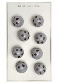 Go Handmade Rammelkralen - rammelballen grijs 24 mm - 8 stuks