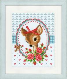 Telpatroon Bambi met rozen en strikje aida