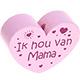 Houten kraal ''ik hou van mama'' babyroze ''babyproof''