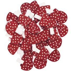 Rico Houten paddestoeltjes rood/wit  17x22mm - ±48 stuks