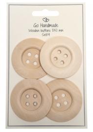 Go Handmade Houten knopen met effen rand- 4 stuks -50mm
