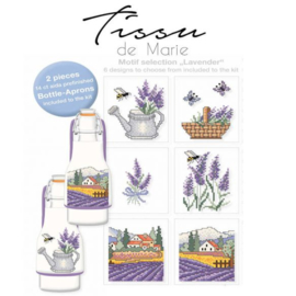 Flessenschort borduurpakket Tissu de marie - Lavendel