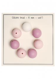 Go Handmade Siliconen kralen 15mm - mix roze 7 kralen