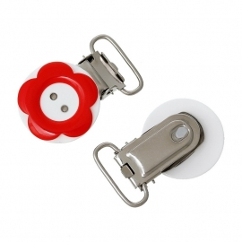 Speenclip rond  20 mm Bloem rood