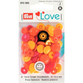 Color snaps -  Prym Love color bloem 13,6mm oranje, geel en rood