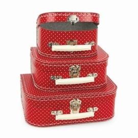 Koffertje rood met witte stippen in 3 maten
