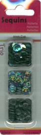 Trio doosje Pailletten zwart - 6mm