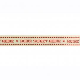 Prachtig lint met Home Sweet Home wit/rood