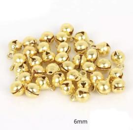 Belletjes goudkleurig 6mm - 30 stuks