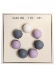 Go Handmade Siliconen kralen 15mm - mix Lila/grijs 7 kralen