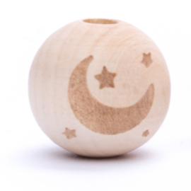 Houten kraal maan en sterren  Verticaal 20 mm