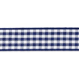Geruit lint - vicky 10mm Donkerblauw