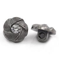 Knoopje met glinstersteentje metallook antiek zilver 3