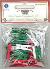 Set wasknijpertjes wit-rood-groen 25mm