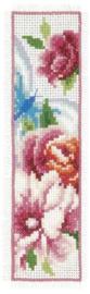 Bladwijzer Vlinder en Bloemen roze bloemen aida set van 2