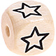 Houten Letterkraal gegraveerd 10mm -Ster open-