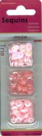 Trio doosje Pailletten roze - 6mm
