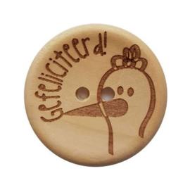Durable houten knopen: Gefeliciteerd!! 30mm -2 stuks-