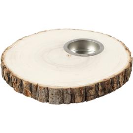 Schijf van hout met waxine licht houder