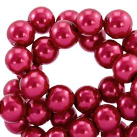30  Glas Parels ruby wine red - 8mm