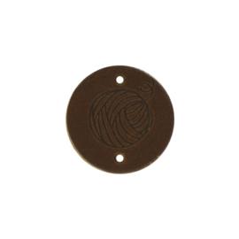 Leren label Round Wool 3cm Bruin