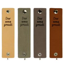 Durable Rechthoekige leren labels met drukknoop van 12 x 3 cm - Door Oma gemaakt per 2 stuks