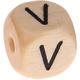 Houten Letterkraal gegraveerd 10mm   - V -