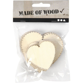 Houten labels - harten - 12 stuks