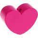 Houten kraal Mini-hart fuchsia effen ''babyproof''