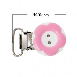 Speenclip rond  20 mm Bloem Roze