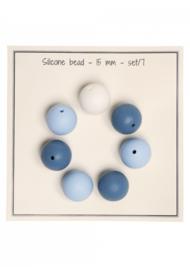 Go Handmade Siliconen kralen 15mm - mix blauw 7 kralen