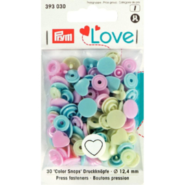 Color snaps -  Prym Love Color hart 12,4mm creme, babyblauw en babyroze