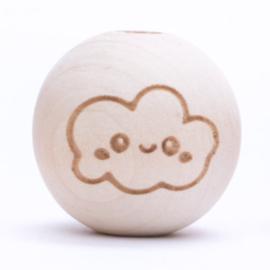 Houten kraal met wolkje  Verticaal 20 mm