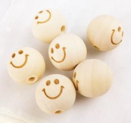 Houten kraal met gezichtje - smiley 20 mm