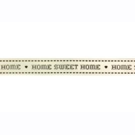 Prachtig lint met Home Sweet Home wit/zwart