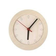 Houten klok met frame en uurwerkje 15cm doorsnee
