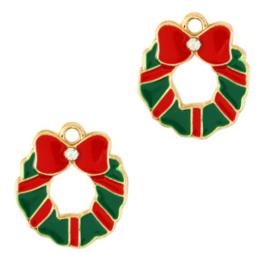 Bedel Kerstkrans  goud - rood - groen per stuk