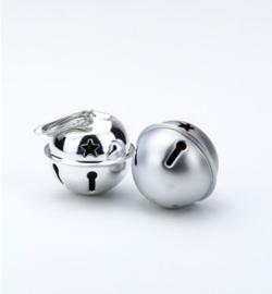 Kerstbelletjes mat en glimmend silver 3 cm - 6 stuks
