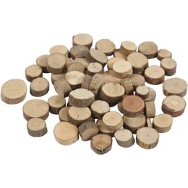 Houten schijfjes 25 gram