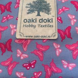 Oaki Doki  romantic stofje Grijs met vlinders 64