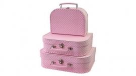 Koffertje Roze met witte stippen