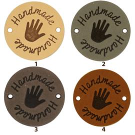 Durable Leren labels rond 3,5cm - Handmade per 2 stuks