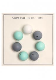Go Handmade Siliconen kralen 15mm - mix Mint/grijs 7 kralen