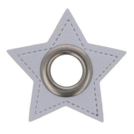 Nestel op grijs Skai-leer ster 8mm oud zilver