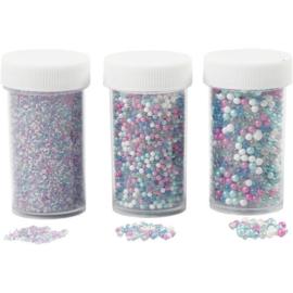 Mini stenen van glas - blauw roze