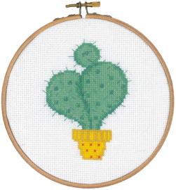 Telpatroon aida cactus met gele pot