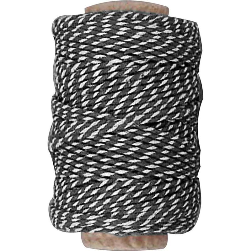 Gestreept katoen koord 1,1mm zwart/wit