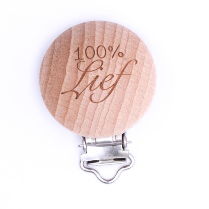 Houten speenclip houtkleurig blank met 100% Lief