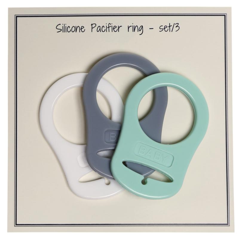 Siliconen Pacifier-Ring  (grijs/mint set van 3) Go Handmade