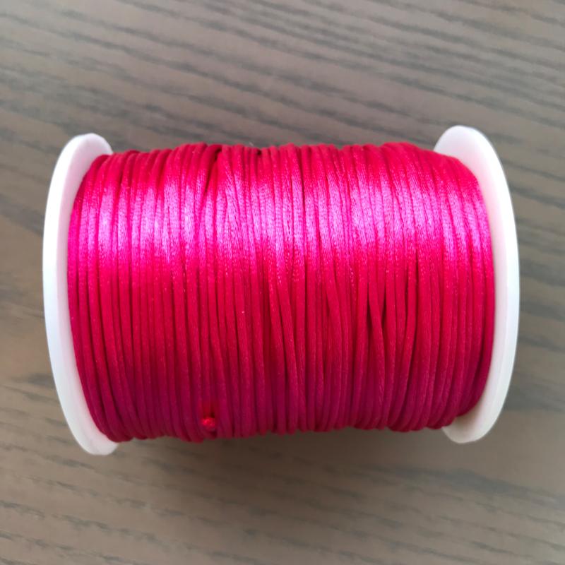 Satijnkoord 1mm  Fuchsia
